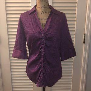 NY&Co stretch purple polka dot button up blouse